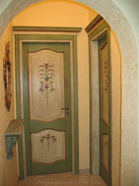 Porte interne in legno massello dipinte a mano falegnameria frad falegname a palermo - Porte decorate antiche ...