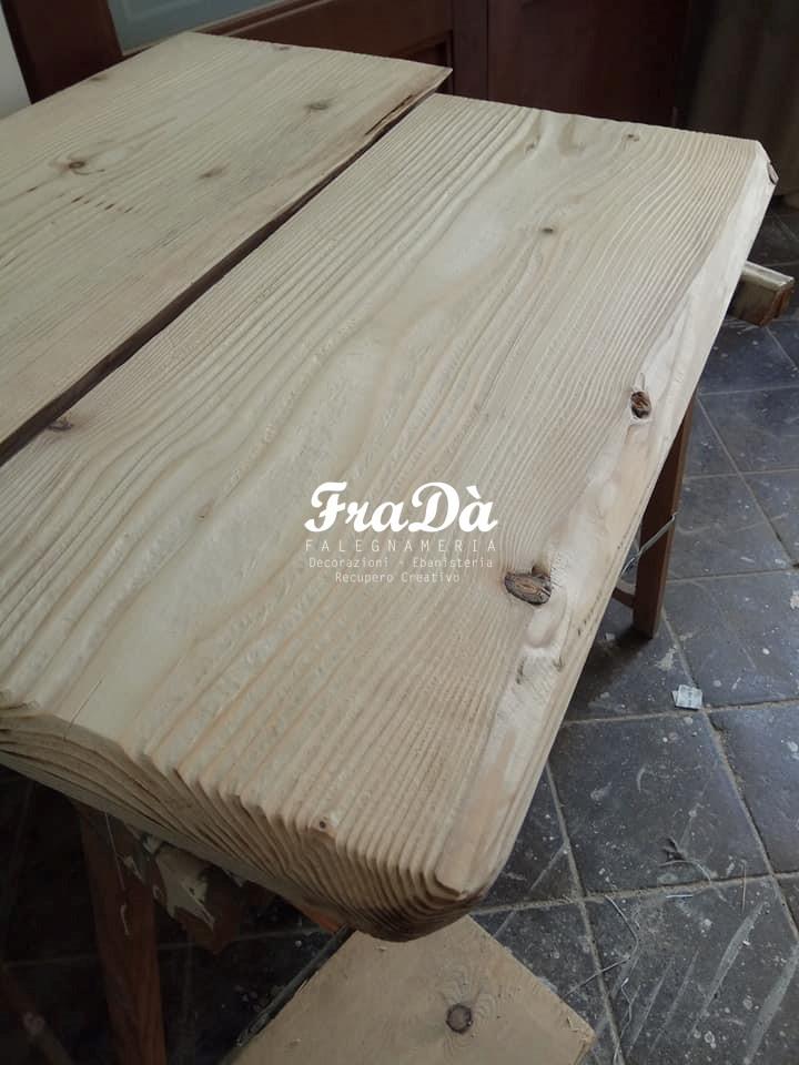 Realizzazione top per bagno in legno falegnameria frad - Top legno massello bagno ...