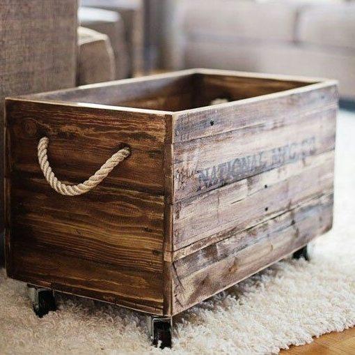 Porta tutto su ruote in legno anticato